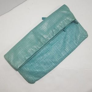 Vintage 90s Oversized Aqua Leather Clutch